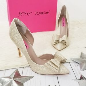 Betsey Johnson Prince D'orsay heels gold bow pumps